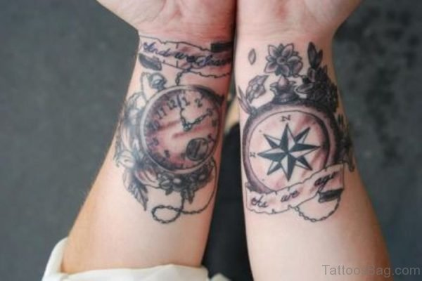 Stop Watch And Compass Tattoo