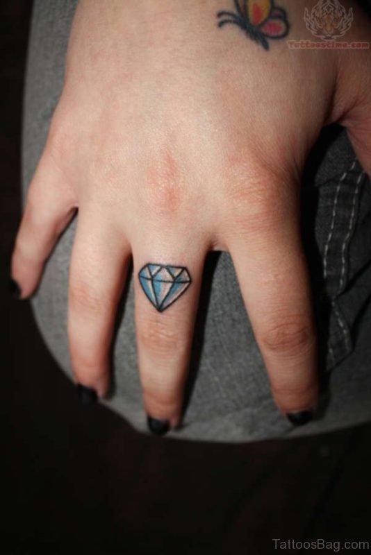 Stylish Diamond Tattoo On  Finger