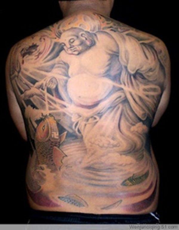 Buddha With Koi Fish Tattoo On Back