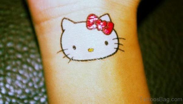 White Red kitty Wrist Tattoo
