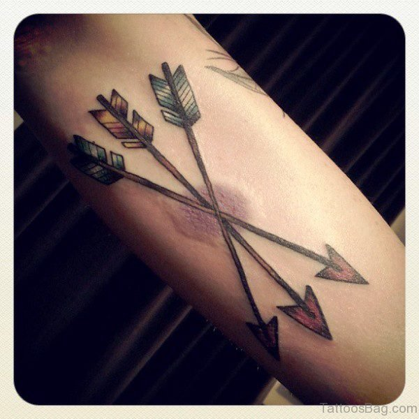 3 Cross Arrow Tattoo On Arm