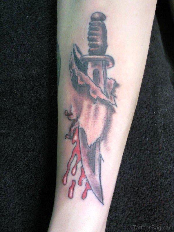 3D Bleeding Dagger Tattoo On Arm