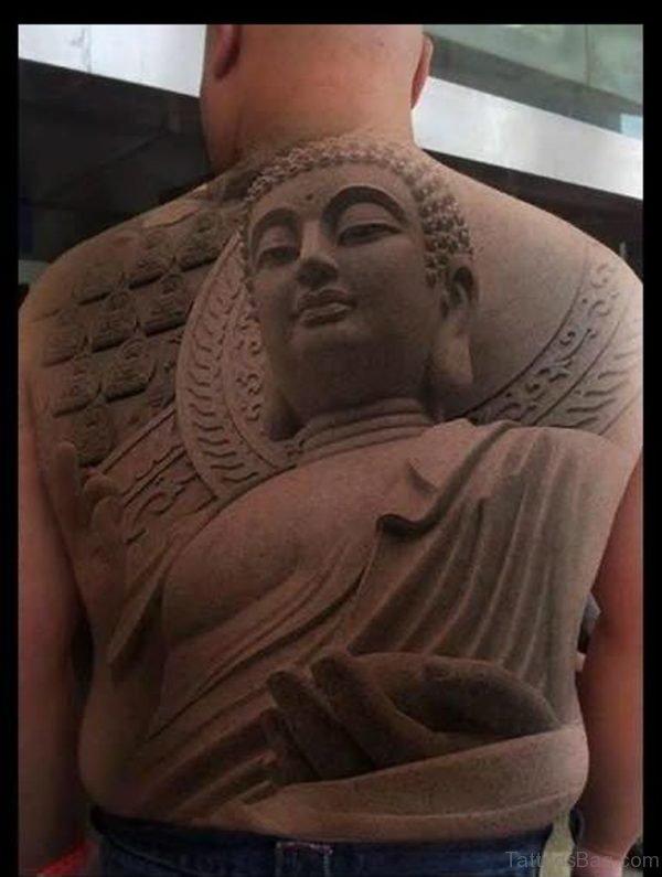 3D Buddha Tattoo On Full Back