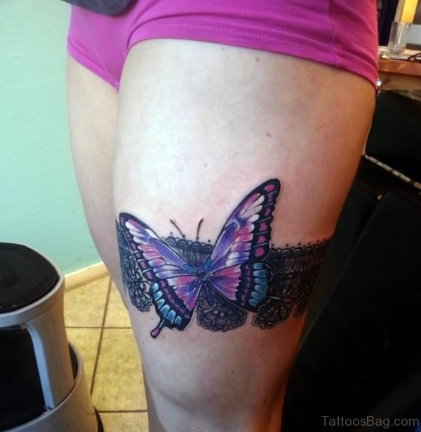 3D Butterfly Tattoo On Girl Thigh