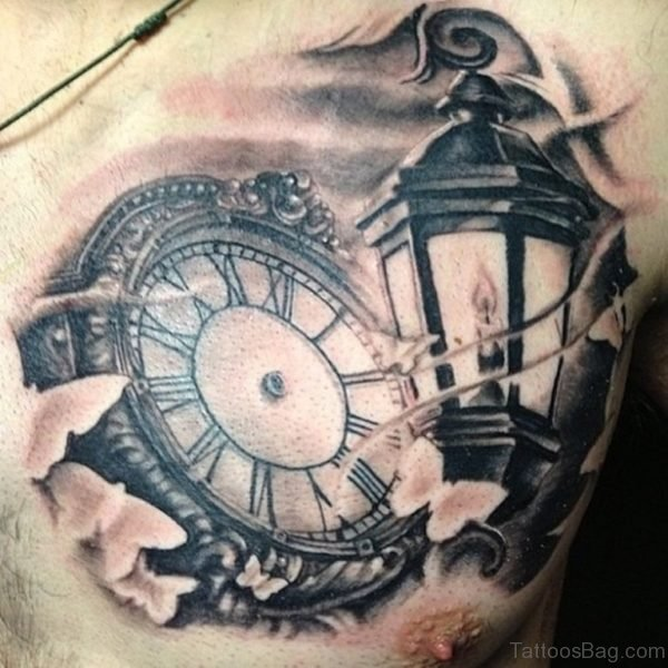 3D Clock Tattoo Design