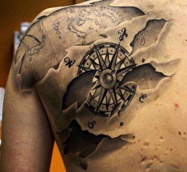 3D Compass Tattoo On Left Back Shoulder