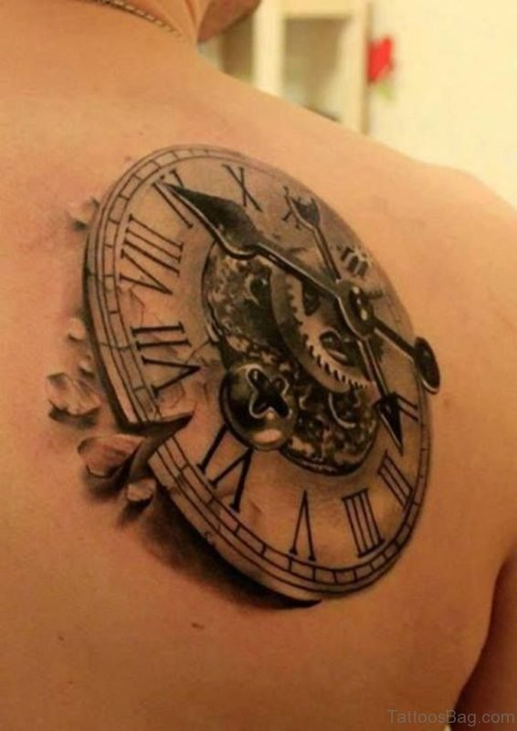 3D Compass Tattoo On Right Back Shoulde