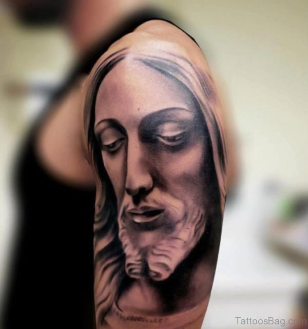 3D Jesus Tattoo On Shoulder