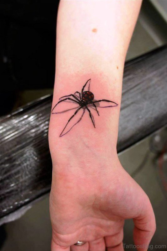 3D Spider Wrist Tattoo