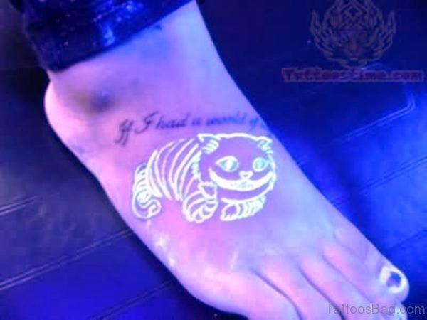 3d Cat Tattoo On Foot