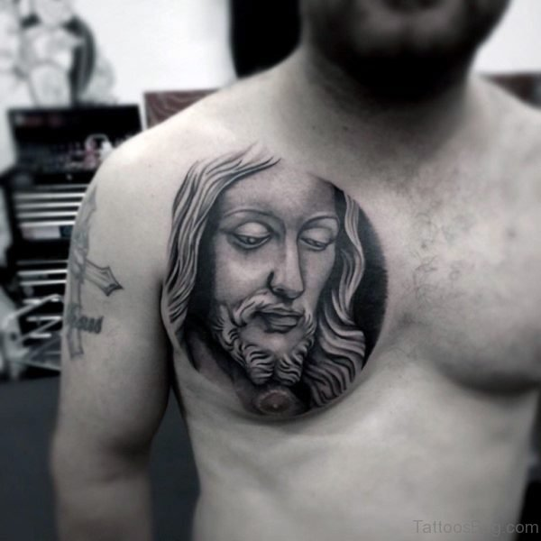3d Christian Jesus Face Tattoo On Men Chest