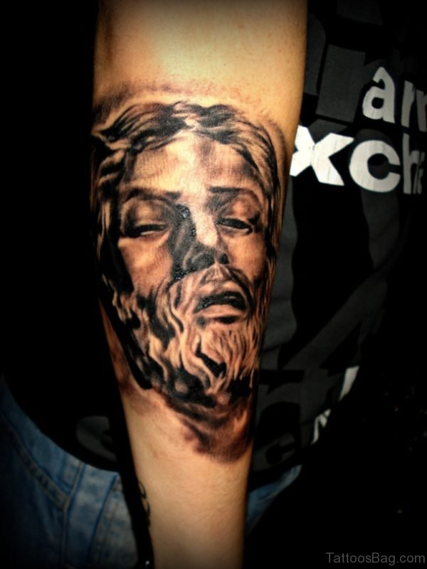 3d Jesus Tattoo Face Tattoo On Right Arm