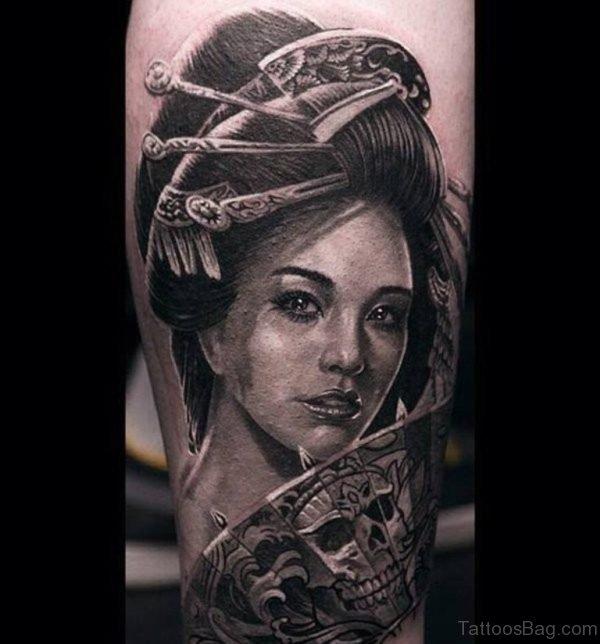 3d Realistic Geisha Tattoo
