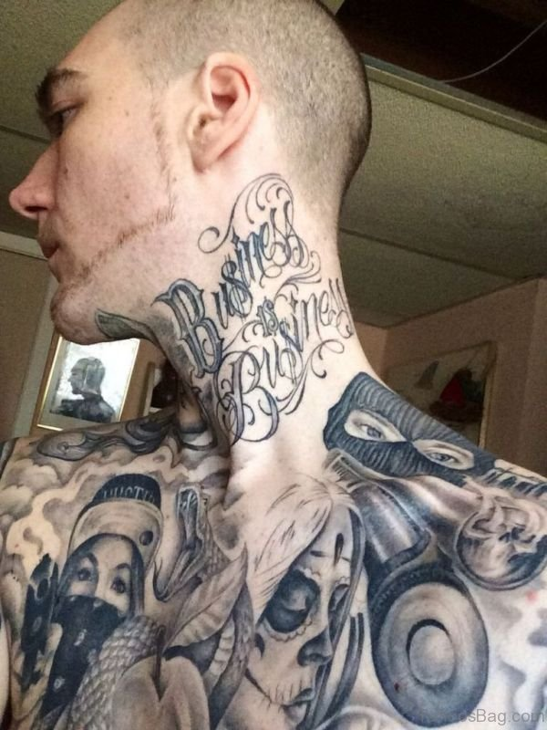 Aborable Gangster Tattoo On Neck