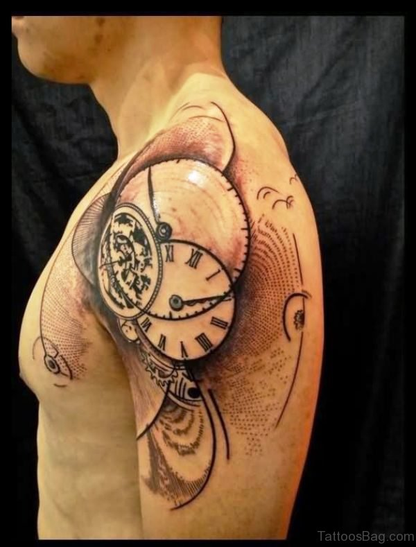 Abstract Clock Shoulder Tattoo