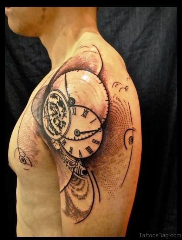 Abstract Clock Shoulder Tattoo