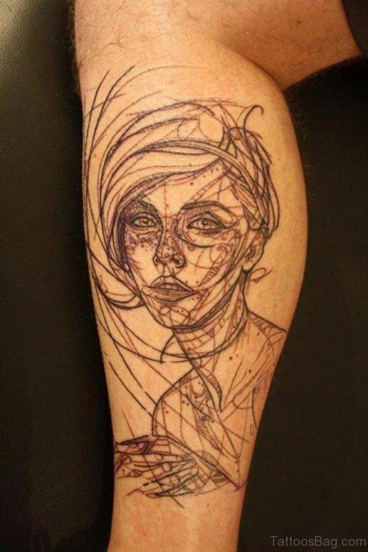 Abstract Geometric Portrait Tattoo On Leg