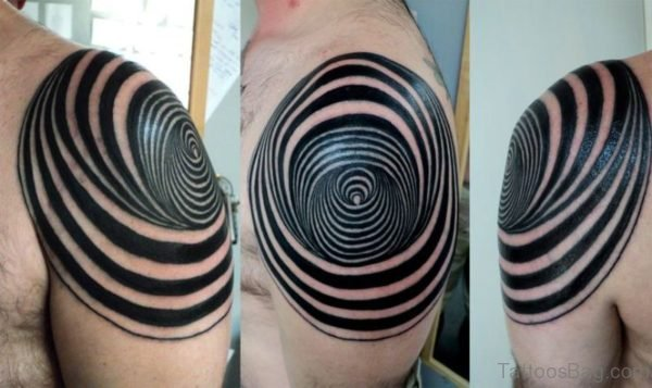 Abstract Geometric Shoulder Tattoo Design