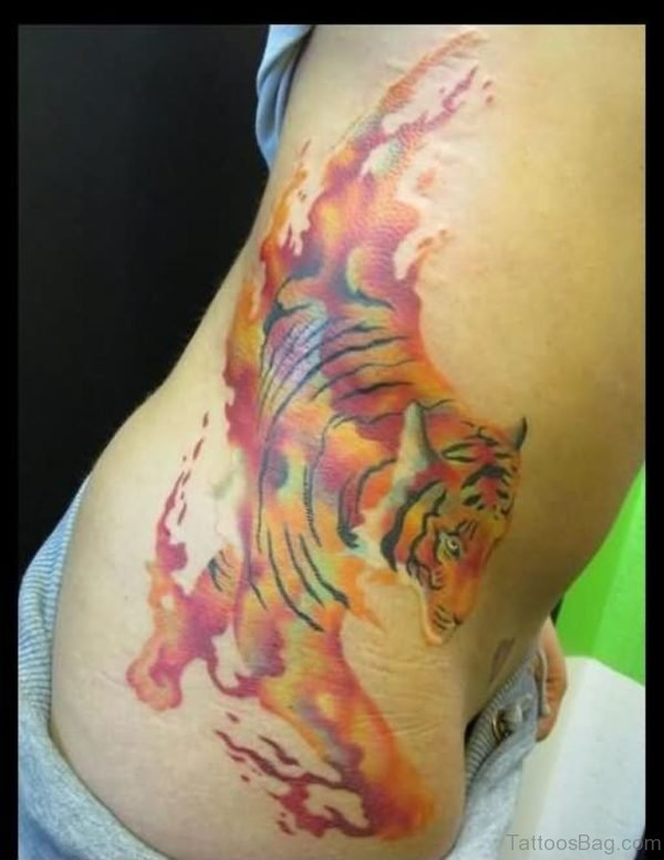 Abstract Tiger Tattoo On side Rib