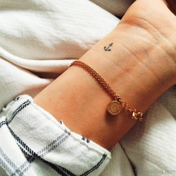 Adorable Anchor Tattoo On Wrist