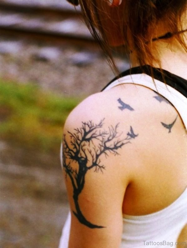 Adorable Birds And Tree Shoulder Tattoo