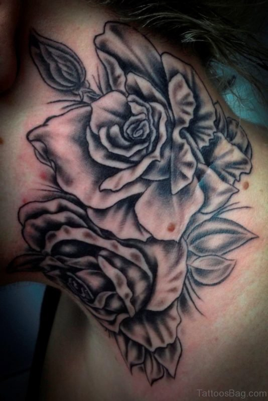 Adorable Black And Grey Flowers Tattoo