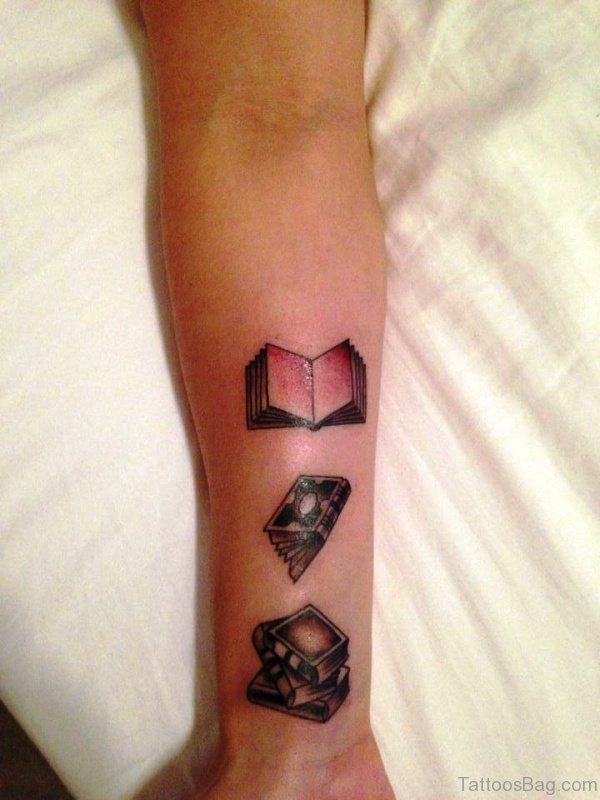 Adorable Books Tattoo On Wrist
