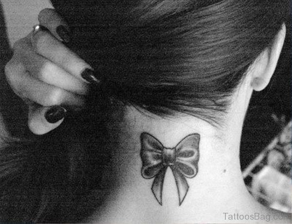 Adorable Bow Tattoo On Neck