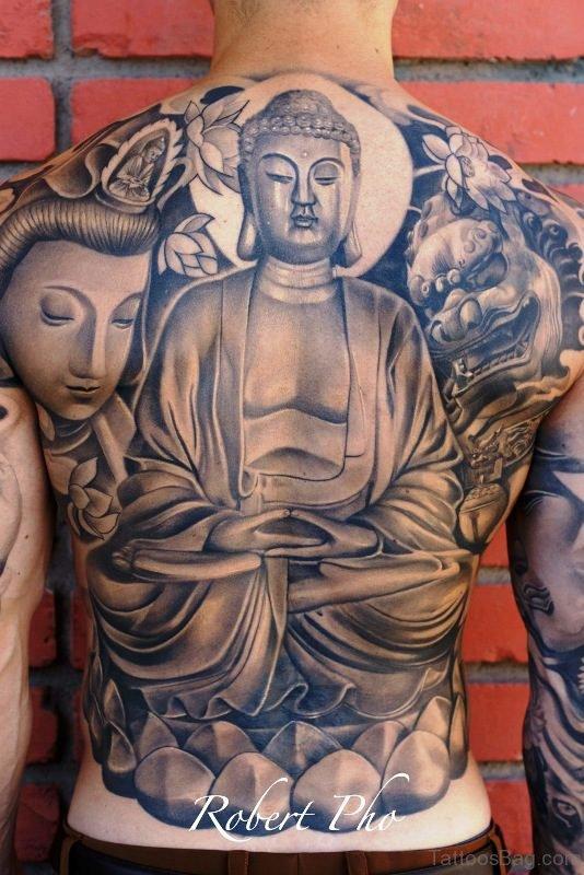 Adorable Buddha Tattoo On Back