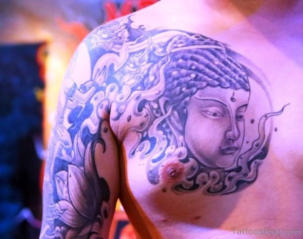Adorable Buddha Tattoo On Chest