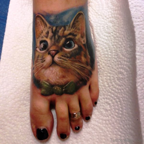 Adorable Cat Tattoo On Foot