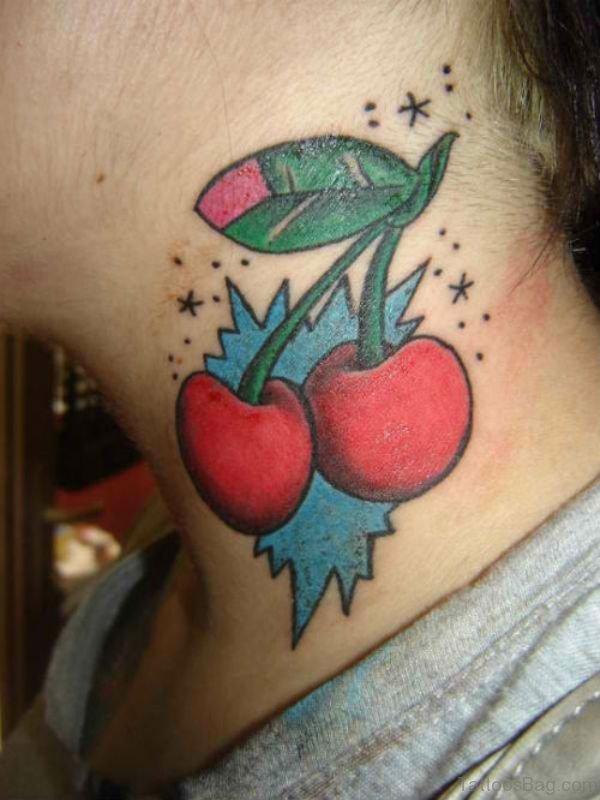 Adorable Cherry Tattoo On Neck