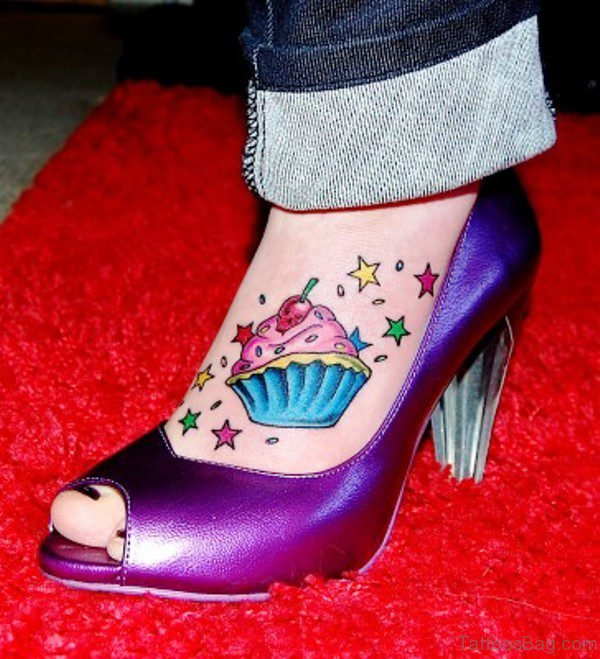 Adorable Cupcake Tattoo On Foot