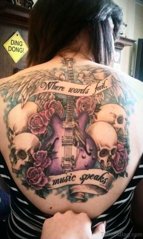 Adorable Guitar Tattoo With Skulls On Back