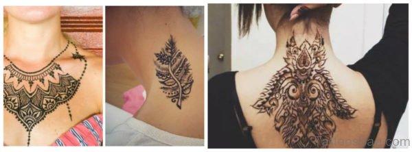 Adorable Henna Tattoo On Neck