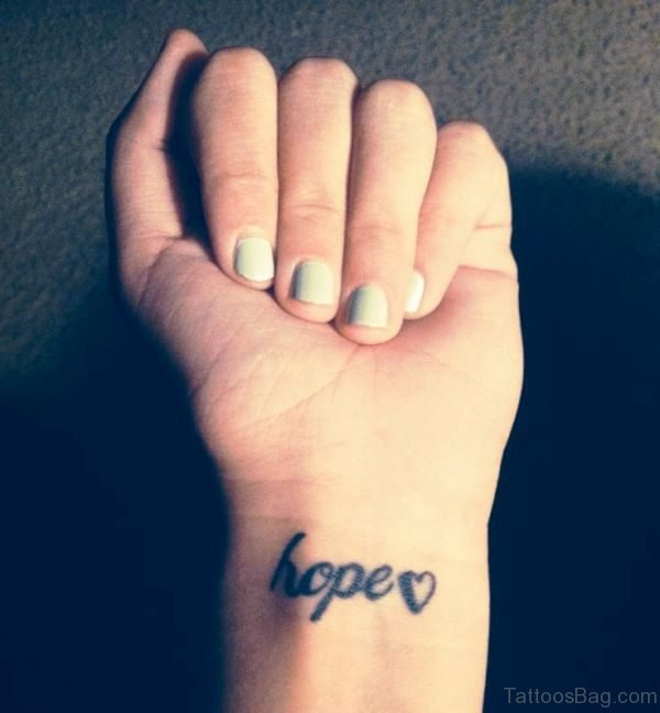 Adorable Hope Tattoo On Wrist