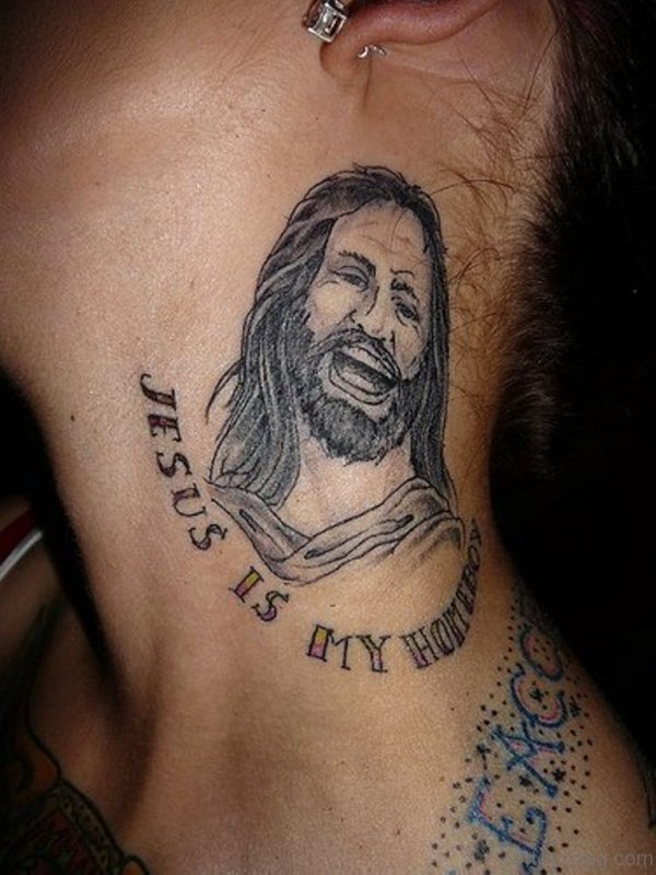 Adorable Jesus Tattoo On Neck