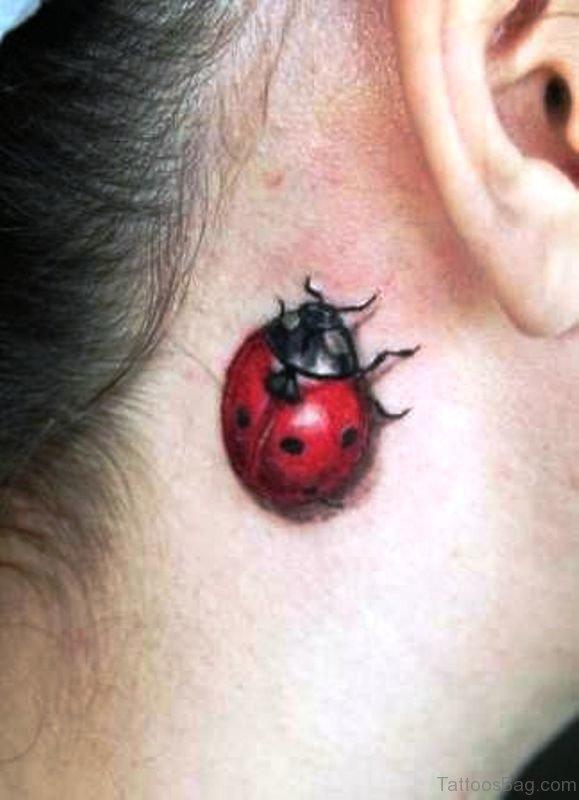 Adorable Ladybug Tattoo Behind Ear