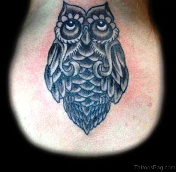 Adorable Owl Neck Tattoo For Men