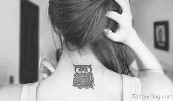 Adorable Owl Tattoo On Neck