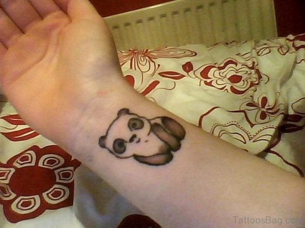Adorable Panda Wrist Tattoo