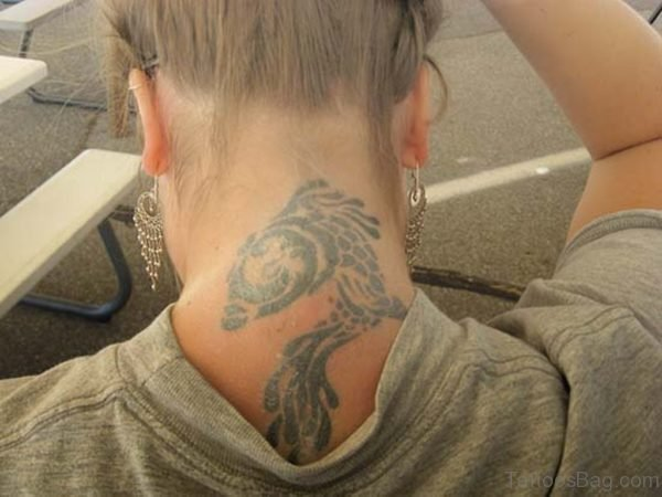 Adorable Pisces Tattoo On Neck Back