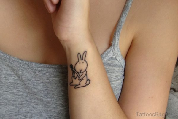 Adorable Rabbit Tattoo On Wrist