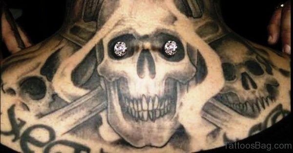 Adorable Skull Tattoo On Neck