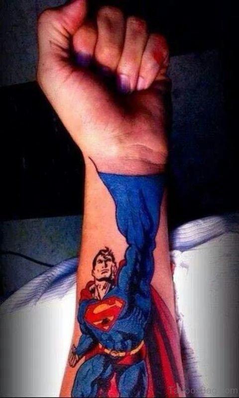 Adorable Superman Wrist Tattoo
