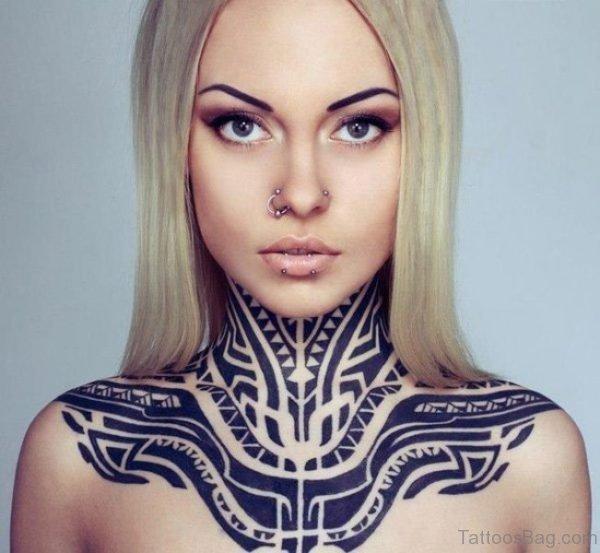 Adorable Tribal Neck Tattoo