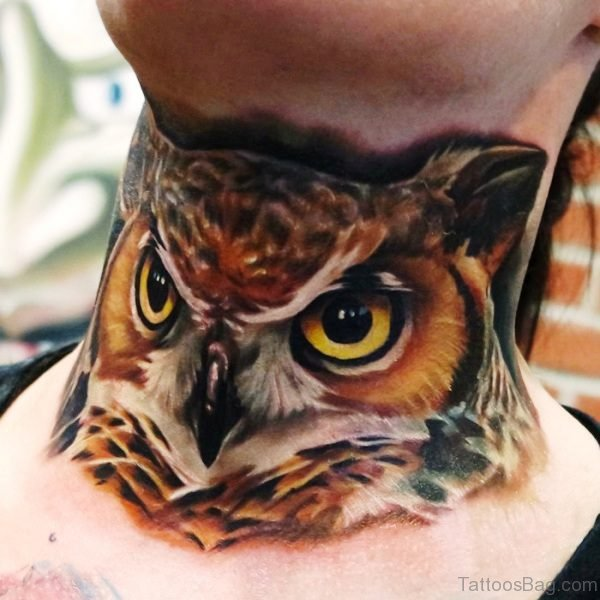 Adstract Owl Tattoo On Neck