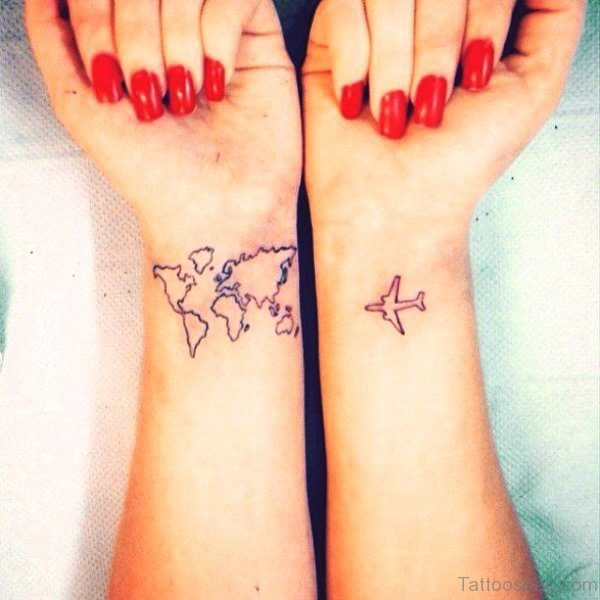 Aeroplane And Map Tattoo On Wrist