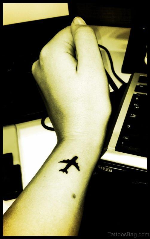 Aeroplane Tattoo On Wrist