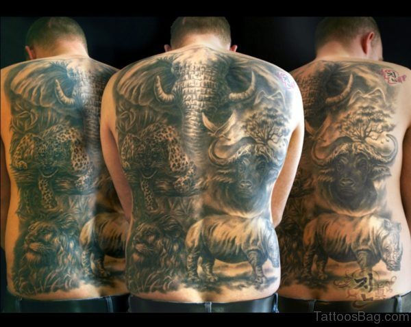 African Big Wild Animals Tattoo On Back